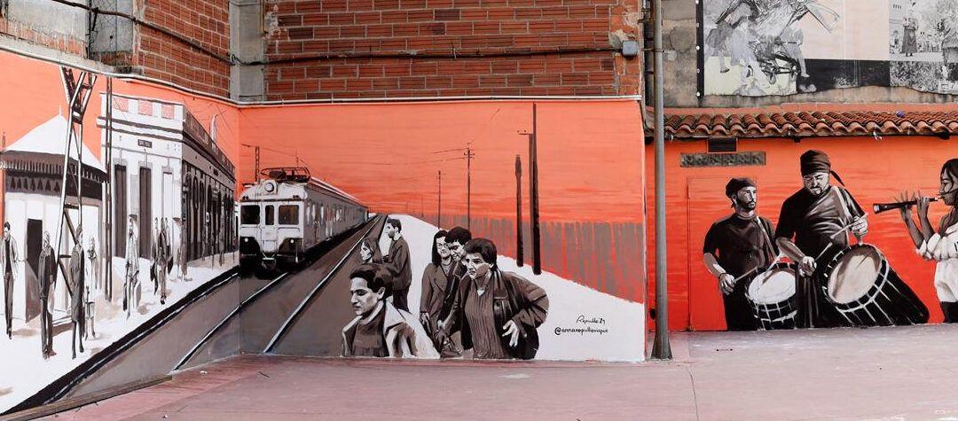 Anna Repullo immortalitza l'estació de tren de Sant Feliu en un mural al pati de l'Ateneu